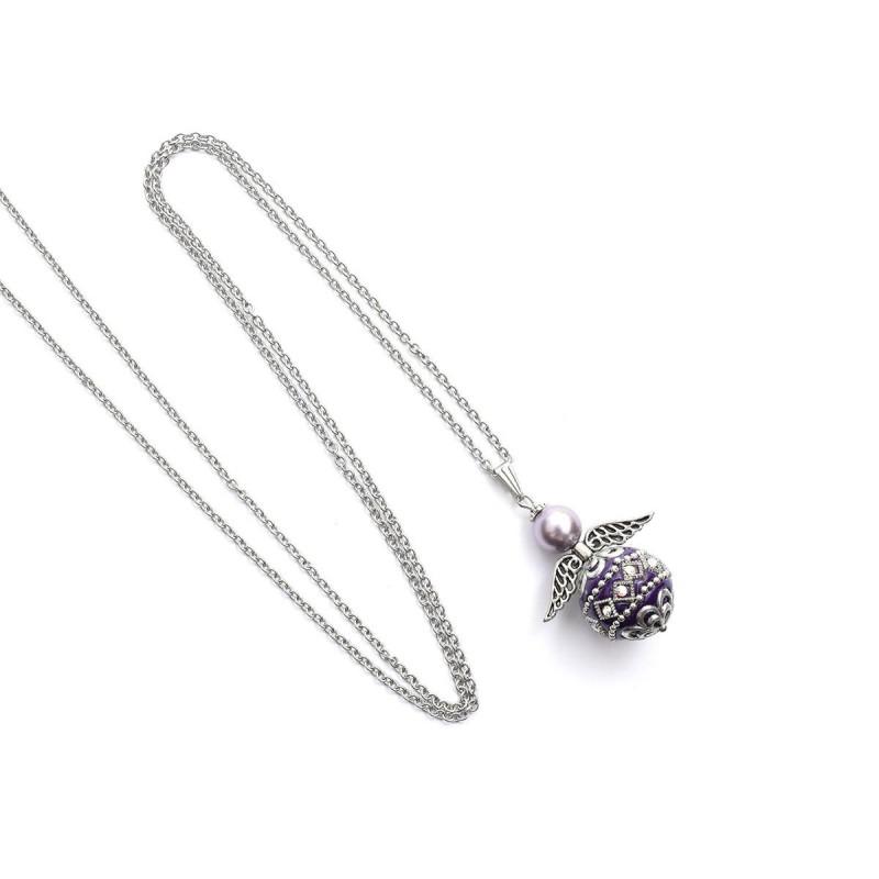 Halskette Edelstahl Engel mit Kashmiri-Perle violett