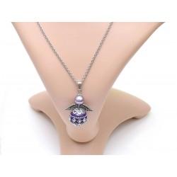 Halskette Edelstahl Engel mit Kashmiri-Perle violett Beispielbild