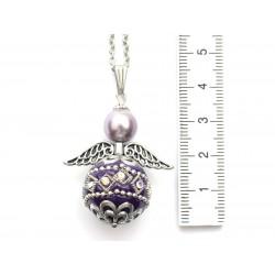 Halskette Edelstahl Engel mit Kashmiri-Perle violett mit Bemaßung