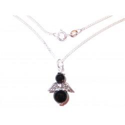 Halskette echt Silber mit Edelstein-Engel schwarzer Turmalin