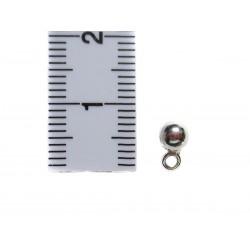 2 Zwischenperlen Kugel mit Öse 4 mm echt Silber mit Maß