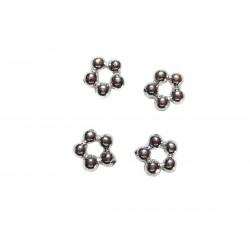 4 Zwischenperlen Spacer kleine Blüten 5mm echt Silber