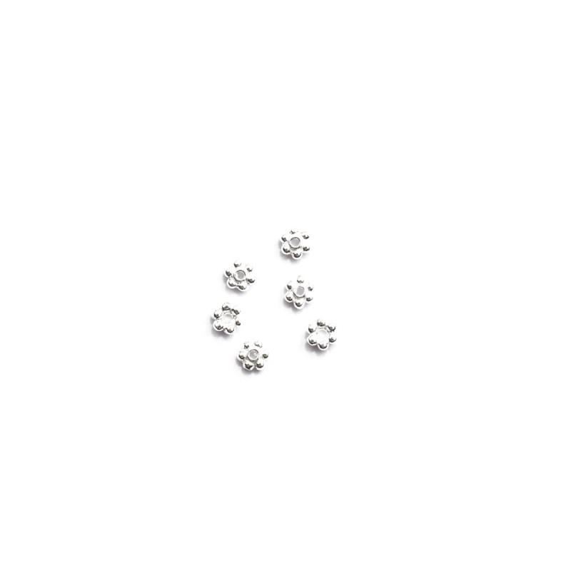 6 Zwischenperlen Spacer kleine Blüten Mini 3,5 mm echt Silber