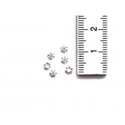 6 Zwischenperlen Spacer kleine Blüten Mini 3,5 mm echt Silber mit Maß