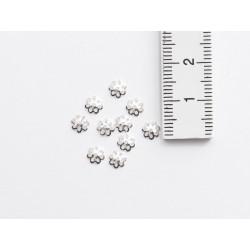 10 Perlkappen Halbschale Blüte 5 mm echt Silber mit Maß