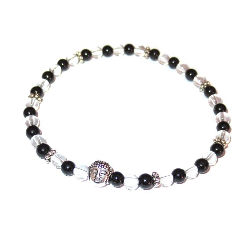 Schwarzer Turmalin Bergkristall Perlen-Armband mit kleinem Buddhakopf silberfarben