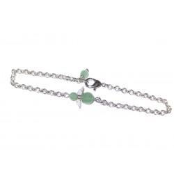 Engel Gliederarmband versilbert mit  Mini-Engel aus grünem Aventurin