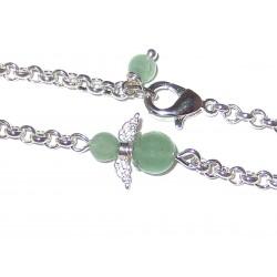Engel Gliederarmband versilbert mit  Mini-Engel aus grünem Aventurin Detail