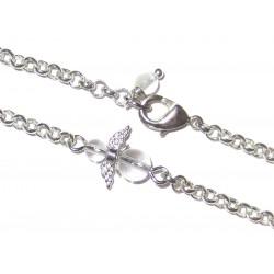 Engel Gliederarmband versilbert mit  Mini-Engel aus Bergkristall Detail