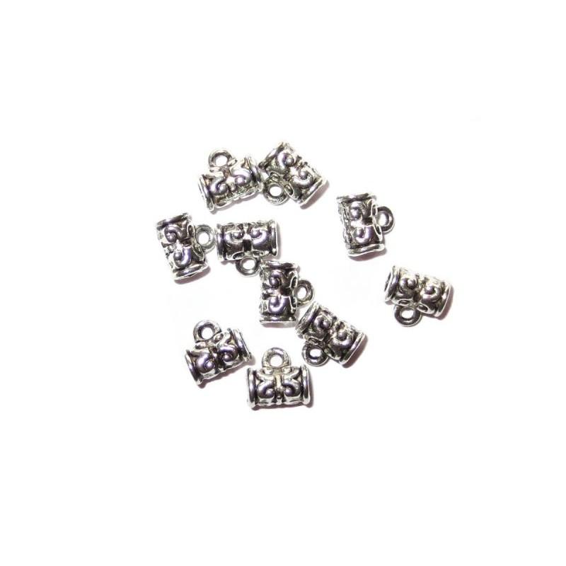 10 Metallperlen mit Öse für Anhänger 8 x 7 x 5 mm