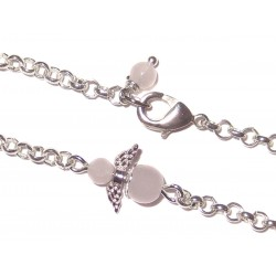 Engel Gliederarmband versilbert mit  Mini-Engel aus Rosenquarz Detail
