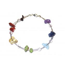 Chakra Edelsteinsplitter-Armband in sieben Farben mit in 925 Silber