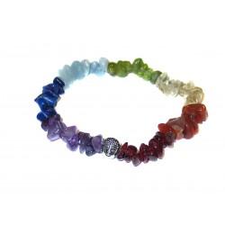 Chakra Edelsteinsplitter-Armband in sieben Farben mit Buddhakopf