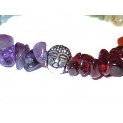 Chakra Edelsteinsplitter-Armband in sieben Farben mit Buddhakopf Detail
