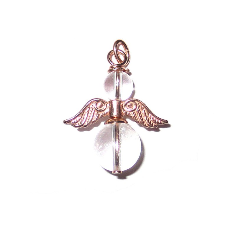 Engel-Anhänger Bergkristall 925 Silber rosevergoldet Schutzengel