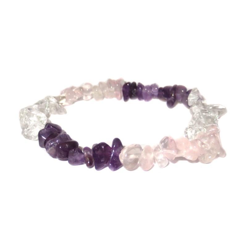 Amethyst-Bergkristall-Rosenquarz Edelsteinsplitter-Armband