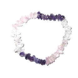 Amethyst-Bergkristall-Rosenquarz Edelsteinsplitter-Armband Detailbild