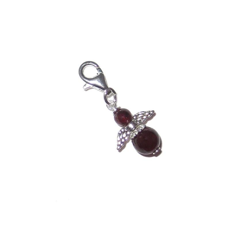 Mini Engel Anhänger Granat rot 925 Silber mit Karabiner