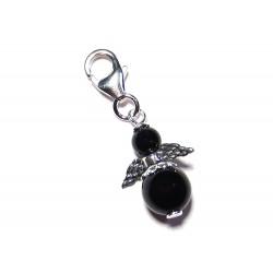 Mini Engel Anhänger schwarzer Turmalin (Schörl) 925 Silber mit Karabiner