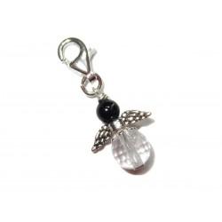 Mini Engel Anhänger schwarzer Turmalin (Schörl)-Bergkristall facettiert 925 Silber mit Karabiner