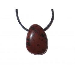 Mahagony-Obsidian Trommelstein Beispiel am Bändchen