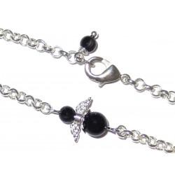 Engel Fusskettchen versilbert mit  Mini-Engel aus schwarzem Turmalin Detailansicht