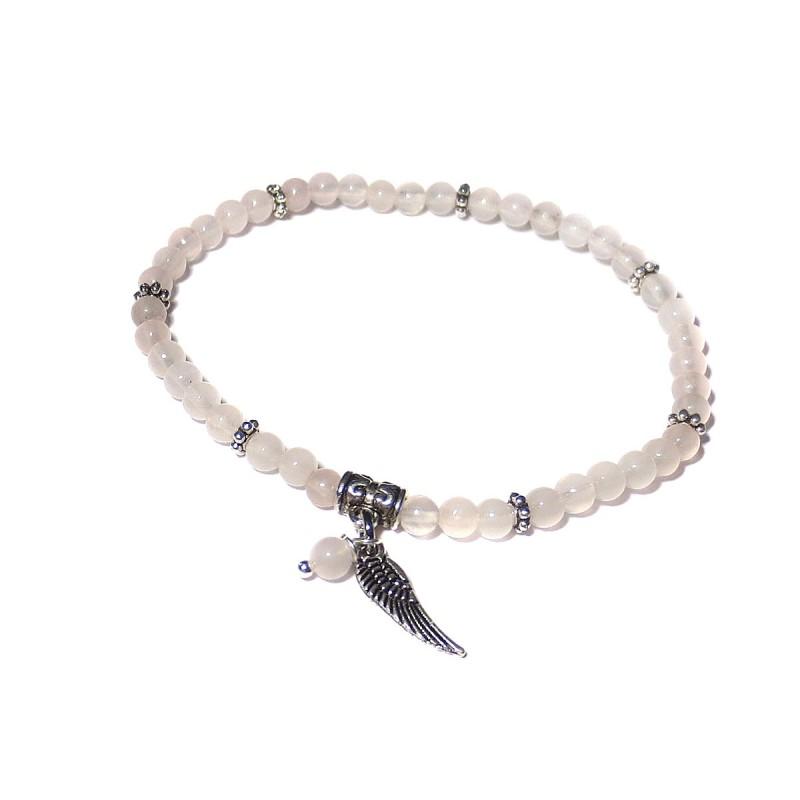 Armband Rosenquarz-Perlen 4 mm mit Engelsflügel und Perle