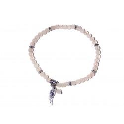 Armband Rosenquarz-Perlen 4 mm mit Engelsflügel und Perle Draufsicht