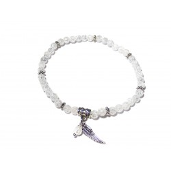 Bergkristall-Perlen-Armband geblitzt mit Engelsflügel und Perle