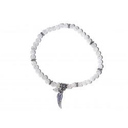 Bergkristall-Perlen-Armband geblitzt mit Engelsflügel und Perle Draufsicht