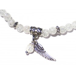 Bergkristall-Perlen-Armband geblitzt mit Engelsflügel und Perle Detail