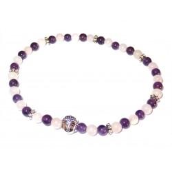Amethyst-Rosenquarz Perlen-Armband mit Buddhakopf