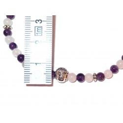 Amethyst-Rosenquarz Perlen-Armband mit Buddhakopf Detail mit Maß