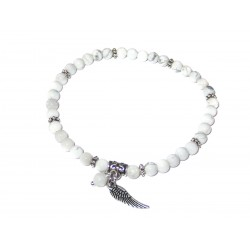 Magnesit Perlen-Armband mit Engelsflügel Handarbeit