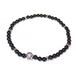 Schwarzer Turmalin (Schörl) Perlen-Armband mit Buddhakopf silberfarben