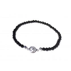 Schwarzer Turmalin (Schörl) Perlen-Armband mit Om-Symbol in 925 Silber Handarbeit