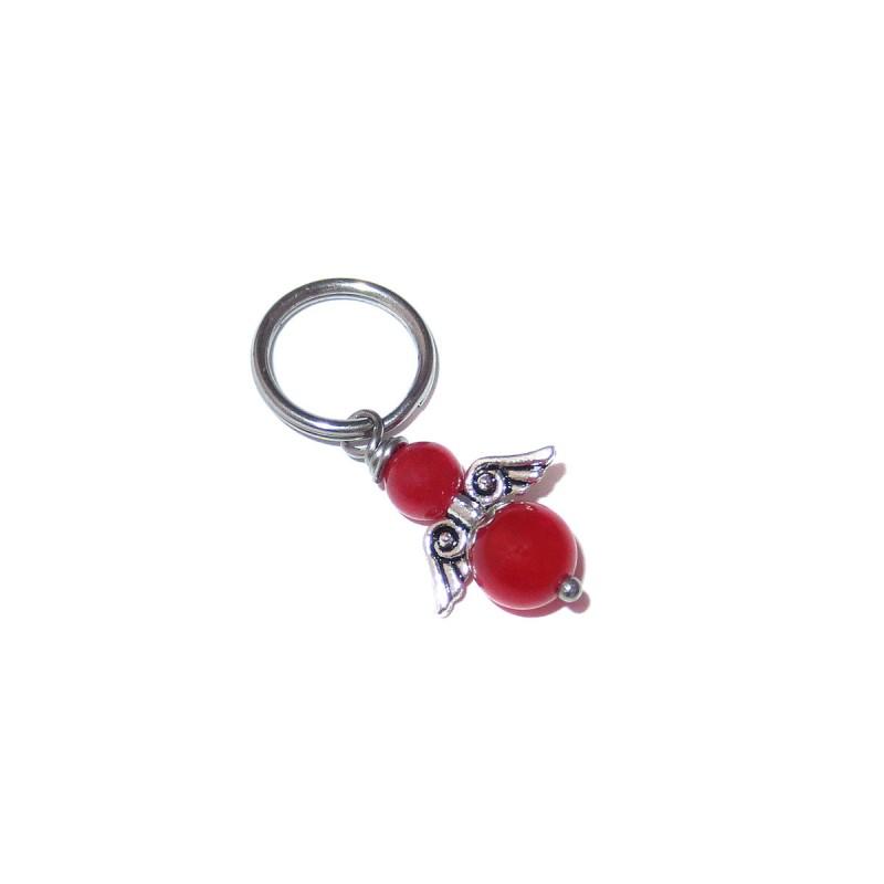 Engel Anhänger für Tiere mit roten Jade Perlen aus Edelstahl