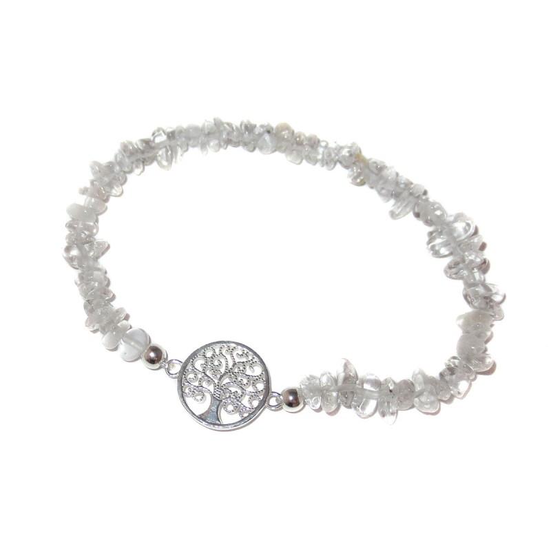 Bergkristall Edelsteinsplitter-Armband mit Baum des Lebens Symbol in 925 Silber Handarbeit