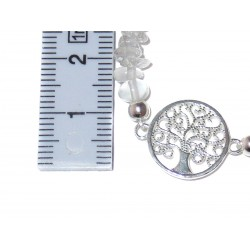 Bergkristall Edelsteinsplitter-Armband mit Baum des Lebens Symbol in 925 Silber Handarbeit Maße