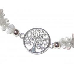 Bergkristall Edelsteinsplitter-Armband mit Baum des Lebens Symbol Nahaufnahme