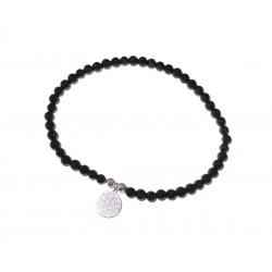 Schwarzer Turmalin (Schörl) Perlen-Armband 4 mm mit Anhänger Blume des Lebens in 925 Silber Handarbeit
