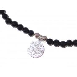 Schwarzer Turmalin (Schörl) Perlen-Armband 4 mm mit Anhänger Blume des Lebens Symbol