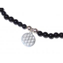 Schwarzer Turmalin (Schörl) Perlen-Armband 4 mm mit Anhänger Blume des Lebens in 925 Silber Handarbeit Detailbild