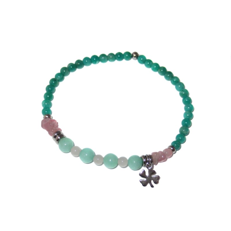Amazonit-Rosenquarz Jade Edelsteinperlen-Armband mit Kleeblatt aus Edelstahl