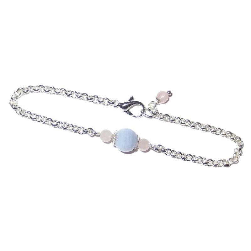 Edelsteinperlen Armkette versilbert mit blauem Chalcedon und Rosenquarz