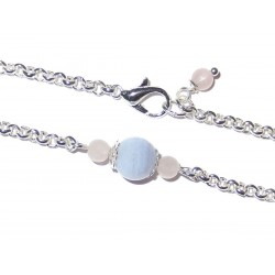 Edelsteinperlen Armkette versilbert mit blauem Chalcedon und Rosenquarz Detailbild