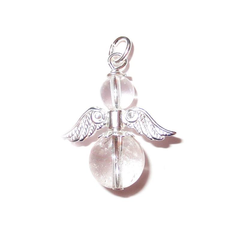 Engel Anhänger Bergkristall 925 Silber Edelstein Schutzengel mit Öse