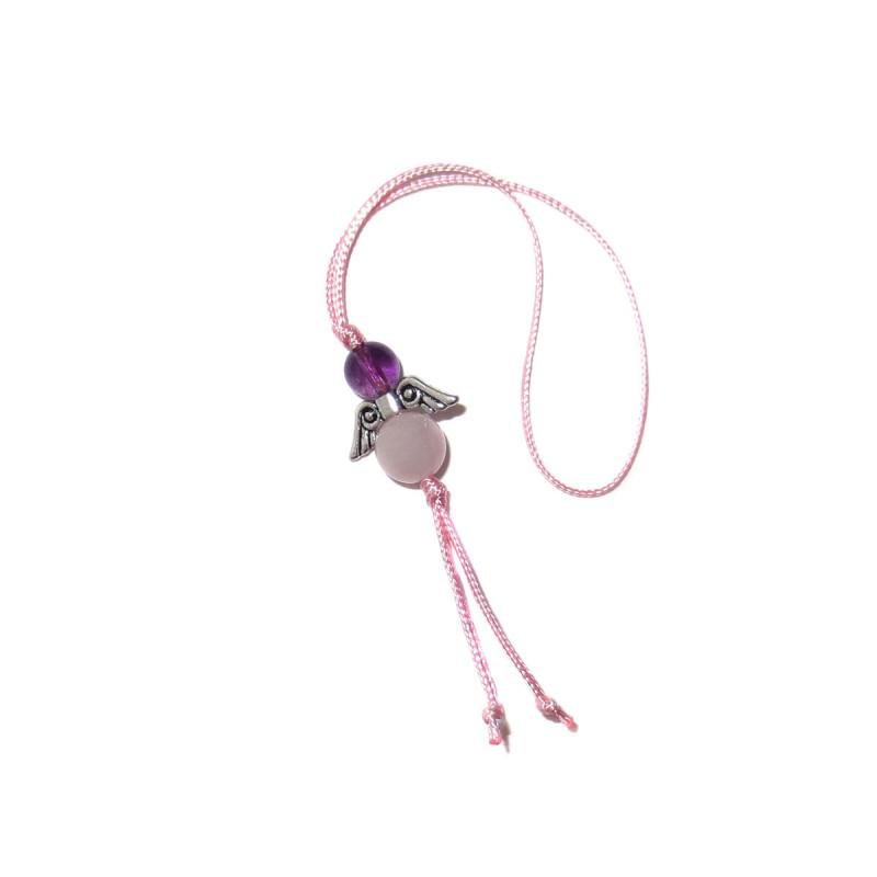 Amethyst-Rosenquarz Glücksengel-Anhänger mit Kordel rosa