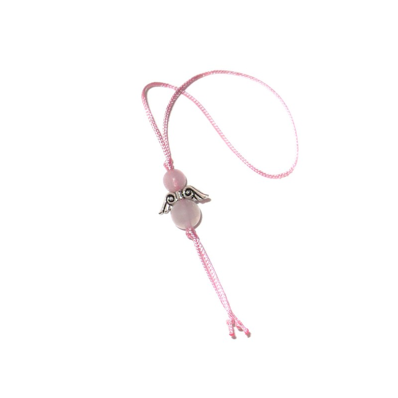 Glücksengel-Anhänger Rosenquarz - rosa