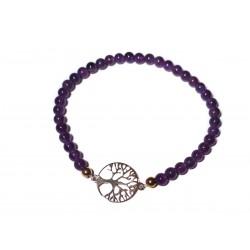 Amethyst Edelsteinperlen-Armband mit Baum des Lebens Symbol